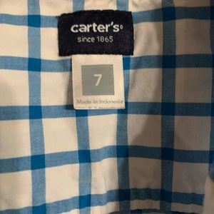 Carter's Shirts & Tops - Carter blue and white plaid button up shirt